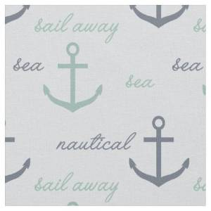 Nautical Mint Blue Anchors